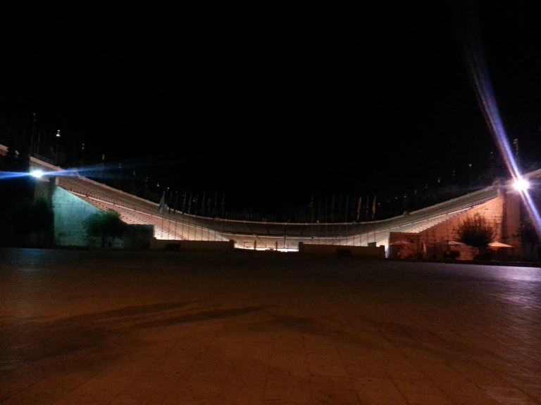 Olympic Stadium at night